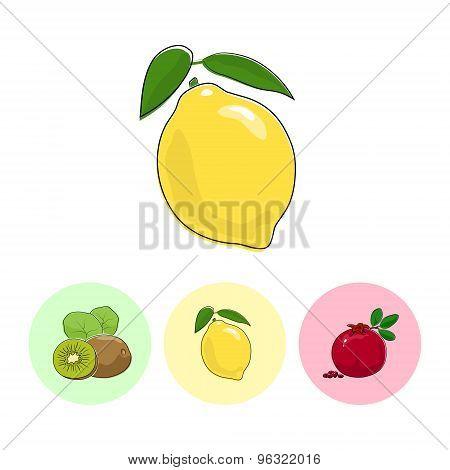 Fruit Icons,lemon , Kiwifruit,  Pomegranate