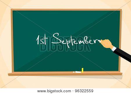 First September School Board Education Hand Draw Chalk