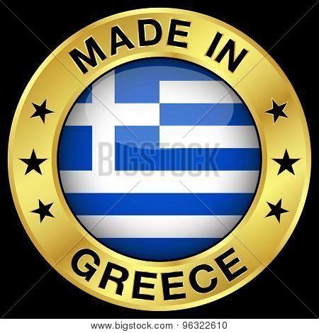 Greece Made In Gold Badge