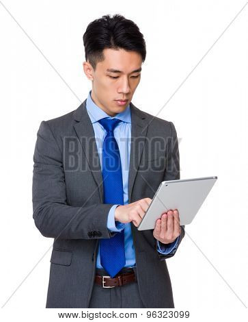 Businessman use of the tablet pc
