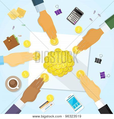 Coins Money on Desk Hands Business People Group Crowd