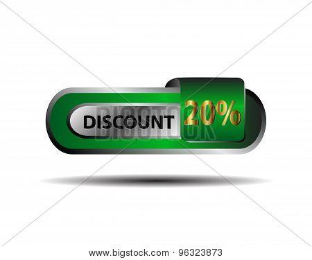 Green 20 percent discount button