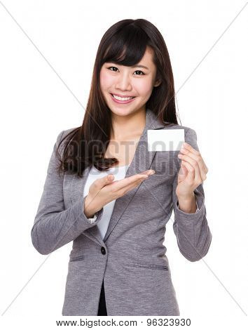 Young businesswoman hold with blank name card