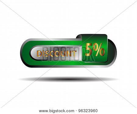 Green five percent discount button vector