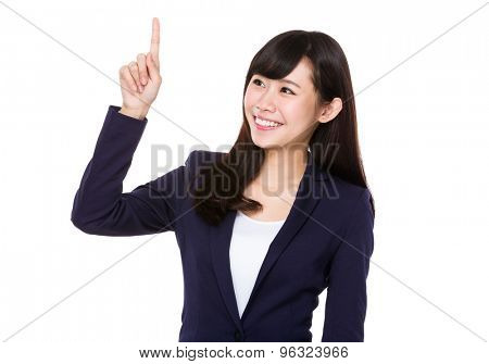 Businesswoman touch on the panel