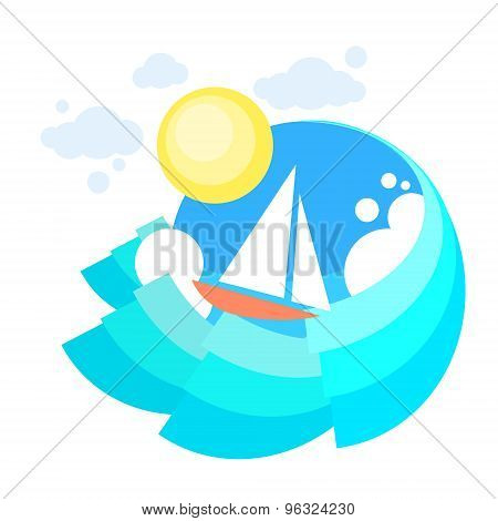 Sail Yacht Boat Sea, Icon Sailing Ocean Vaction Logo, Marine Trip