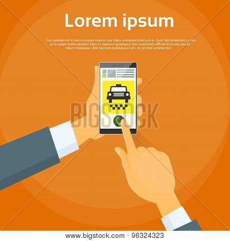 Taxi Application Hand Use Smart Phone Call Cab Car Flat