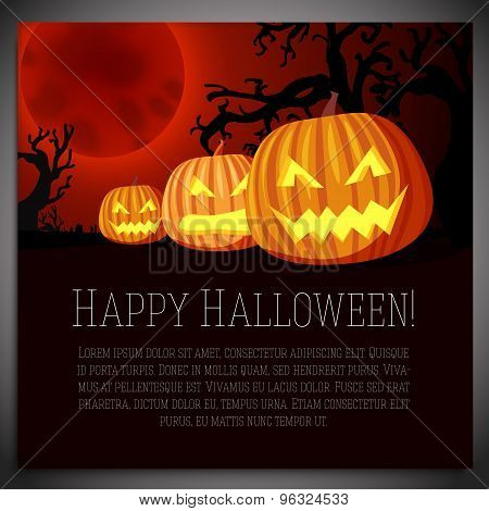 Big halloween banner with illustration of carved pumpkins on the red moony background and scary tree
