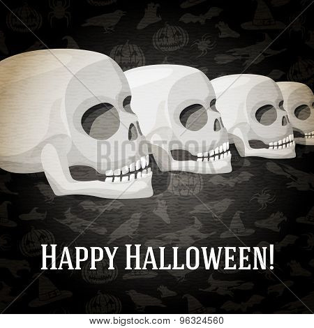 Happy halloween greeting card with human skulls fading to the perspective. Vector