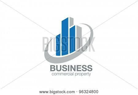 Real Estate Logo abstract design vector template. Finance concept. Stylized Skyscrapers such as Charts diagram of Stock Exchange Logotype icon.