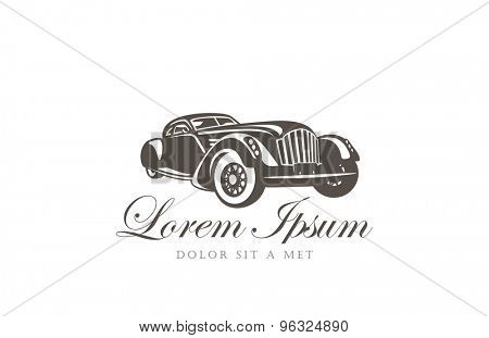 Retro Car Logo abstract design vector template. Vintage vehicle Logotype. Classic automotive concept icon.