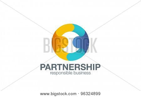 Partnership Logo design vector template with abstract characters. People holding hands in circle Friendship, Partnership, Cooperation, Team work logotype concept icon.