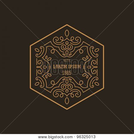 Vintage Luxury Logo design hexagon shape template flourish calligraphic elegant.  Business logotype emblem, identity for Boutique ,Restaurant, Heraldic, Jewelry, Fashion illustration lineart style.