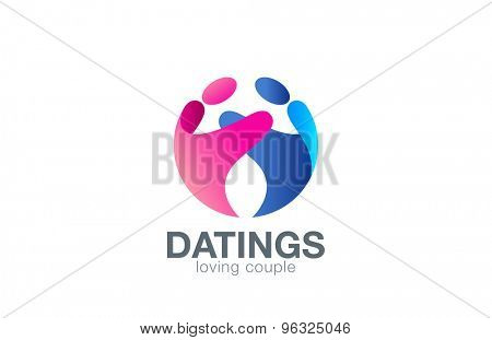 Loving Couple Sphere Logo design vector template with abstract characters. People holding hands in circle Friendship, Partnership, Cooperation, Love, Dating logotype concept icon.