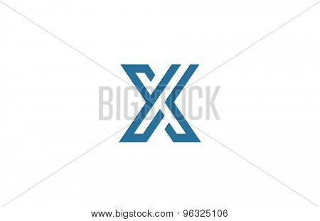 Letter X Logo vector design element template. ABC concept type as logotype. Typography icon line art alphabet