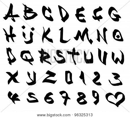 Graffiti Marker Font And Number Alphabet Over White