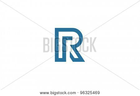 Letter R Logo vector design element template. ABC concept type as logotype. Typography icon line art alphabet