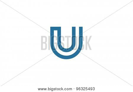 Letter U Logo vector design element template. ABC concept type as logotype. Typography icon line art alphabet