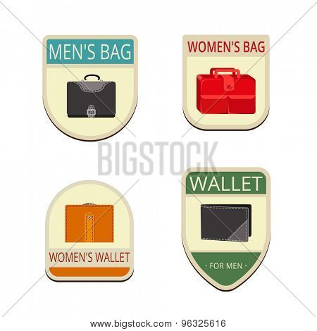Bag Vintage Labels vector icon design collection. Shield banner sign. Bags, wallet flat icons.