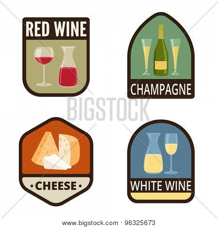 Wine Vintage Labels vector icon design collection. Shield banner sign. Red wine, Champagne, Cheese, White wine flat icons.