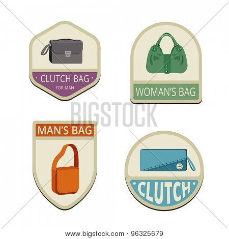 Bags Vintage Labels vector icon design collection. Shield banner sign. Bag, clutch flat icons.