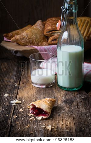 Assorted Breakfast Pastries With Milk