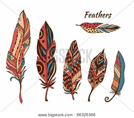Hand Drawn Boho Feathers Vector Collection. Set Of Doodle Ethnic Color Feathers. Cute Zentangle Feat