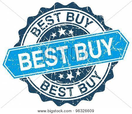 Best Buy Blue Round Grunge Stamp On White