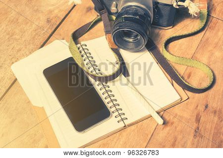 Blank Cell Phone, Diary And Old Photo Camera, Vintage Photo Effect