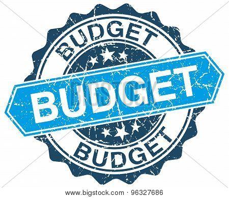 Budget Blue Round Grunge Stamp On White