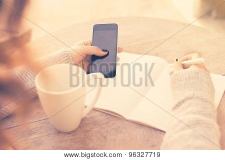 Girl With Cell Phone And Diary, Vintage Photo Effect