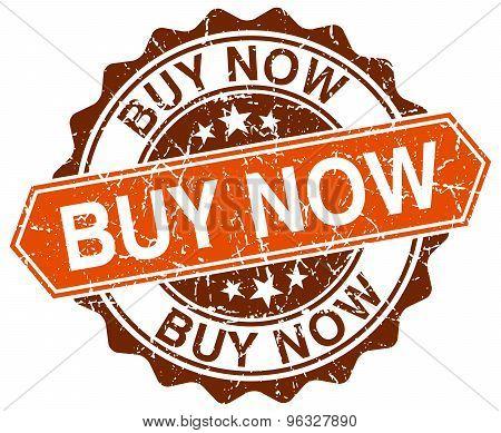 Buy Now Orange Round Grunge Stamp On White