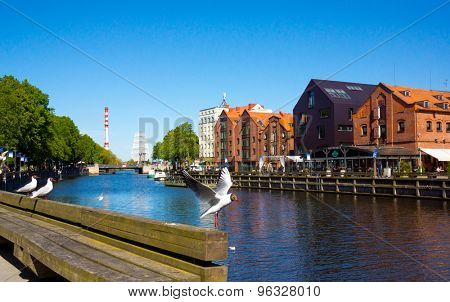 KLAIPEDA - JUNE 09: Klaipeda Old Castle Harbour on June 09, 2015 Klaipeda, Lithuania. The Old Castle Harbour situated in a territory of 'Klaipeda ship repair yard'.