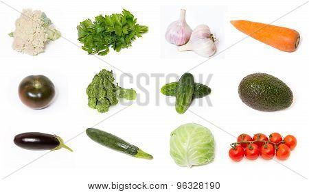 Set of fresh healthy vegetables