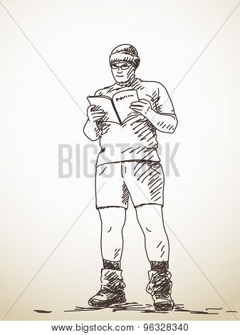 Standing man reading a book. Vector sketch, Hand drawn illustration