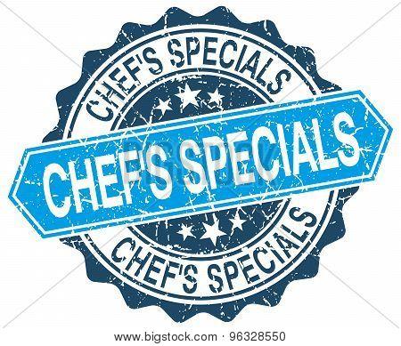 Chef's Specials Blue Round Grunge Stamp On White
