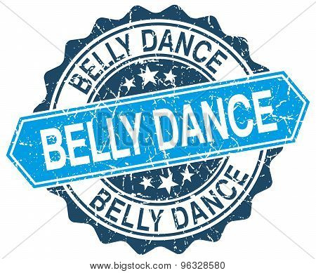 Belly Dance Blue Round Grunge Stamp On White