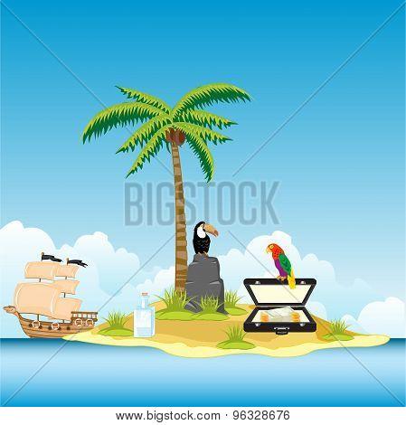 Island in ocean and money