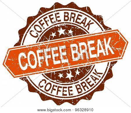 Coffee Break Orange Round Grunge Stamp On White