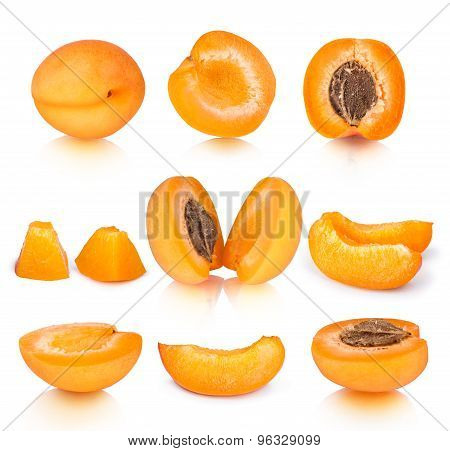 Collection Of Apricot Pieces With Reflection Isolated On White Background