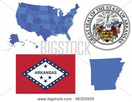 Vector Illustration of state Arkansas,contains: High detailed map of USA High detailed flag of state Arkansas High detailed great seal of state Arkansas Arkansas state,shape
