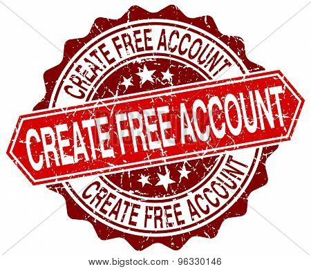 Create Free Account Red Round Grunge Stamp On White