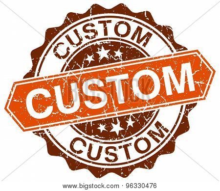 Custom Orange Round Grunge Stamp On White