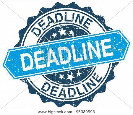 Deadline Blue Round Grunge Stamp On White
