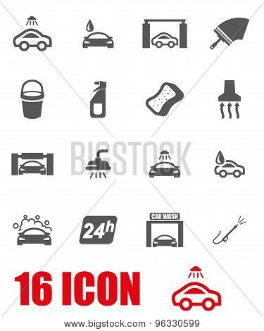 Vector Grey Car Wash Icon Set
