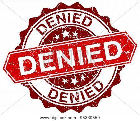 Denied Red Round Grunge Stamp On White