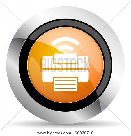 printer orange icon wireless print sign