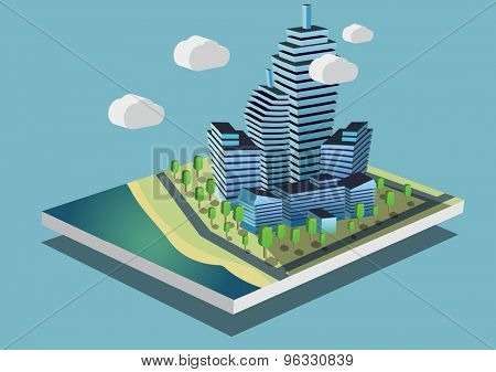 City buildings on the shore concept Isometric vector illustration