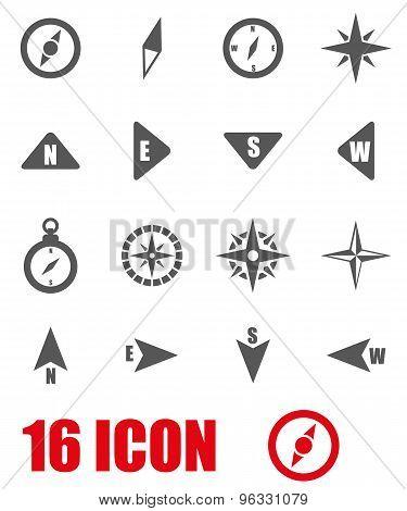 Vector Grey Compass Icon Set