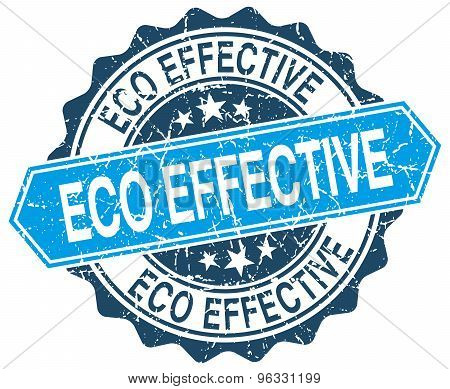 Eco Effective Blue Round Grunge Stamp On White